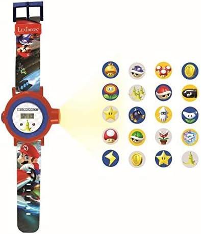 Lexibook- Nintendo Montre Bracelet Ajustable écran Digital avec 20 Projections de l'univers Mario Kart-pour Enfant/Ga...