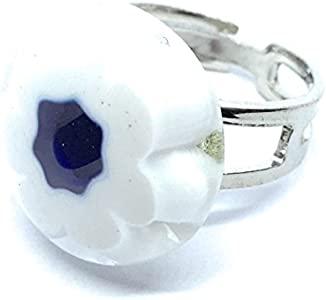 Joyería de cristal de Murano, anillo de cristal de Murano, diseño de flores de Millefiori, aprox. 1,8 cm, chapado en plata y ajustable, incluye caja de regalo y certificado