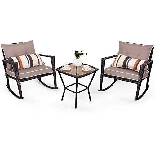 COSTWAY 3 PCS Rattan Wicker Rocking Bistro Set, Glass Coffee Tea Table and 2 Rocking Chairs with Cushion & Waist Pillow, Conversation Sets for Outdoor Garden Patio Porch (Color 1)