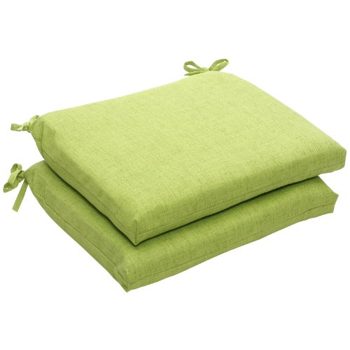 Pillow Perfect 451664 Indoor/Outdoor Green Textured Solid Square Seat Cushion, 2-Pack,18.5 in. L X 16 in. W X 3 in. D