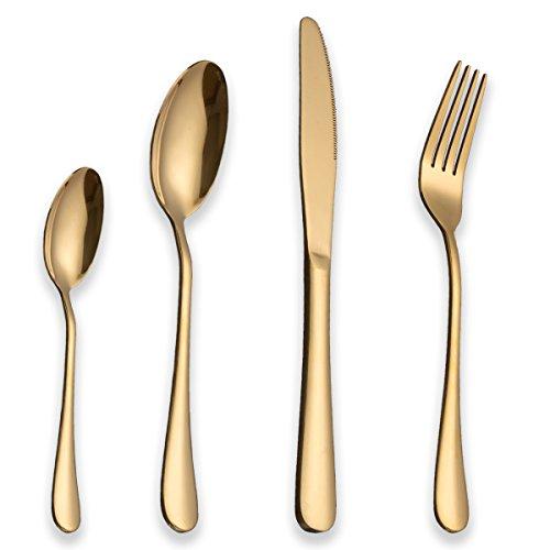 Berglander Set di posate in acciaio inossidabile 24 pezzi con placcato in titanio oro, set di posate di colore dorato, posate, servizio di posate servizio per 6 (24 pezzi)