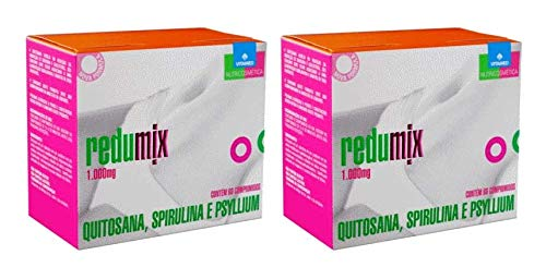 Kit 2 Redumix: Quitosana + Spirulina + Psyllium Fibras para Emagrecer, Vitamed