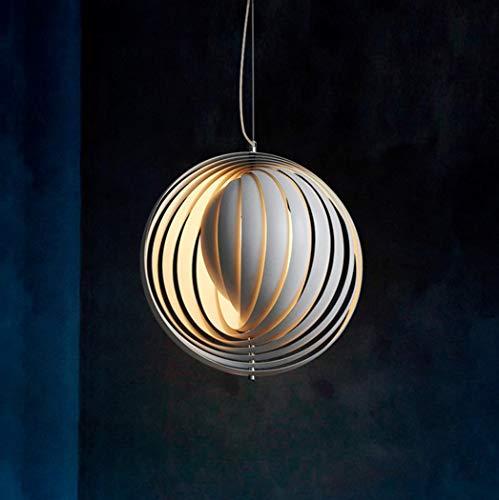 Panton Moon Chandelier Weiß Pendellus Eisen und Harz Hängelampe Moderne Hängende Lampe E27 Pendelleuchte Geeignet für Wohnzimmer Bar