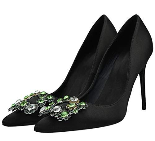 Damen Classic Pumps Pointed Toe Stiletto Strasssteine Slip On Satin Hochzeit Braut Mode Elegantes Kleid Schuhe Schwarz 45 EU