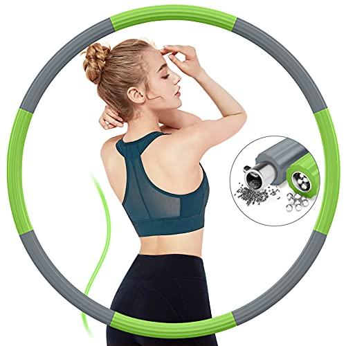 Hula Hoop Reifen erwachsene,Hoola Hoop Reifen 1,2 kg,verbesserter Edelstahlinnenkern und Dicker Schaumstoff,Fitness Hoop Reifen zum 8 abnehmbare,Einstellbares Gewicht bis 3,2 kg Für Gewichtsabnahme