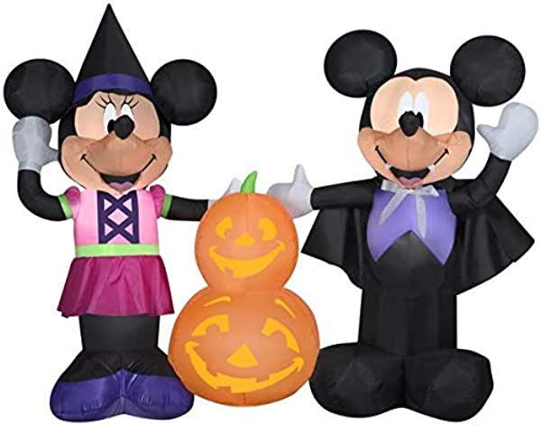 Gemmy 5 5 Wide Airblown Mickey And Minnie W Pumpkins Disney Halloween Inflatable