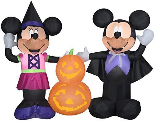 Gemmy 5.5' Wide Airblown Mickey and Minnie w/Pumpkins Disney Halloween Inflatable