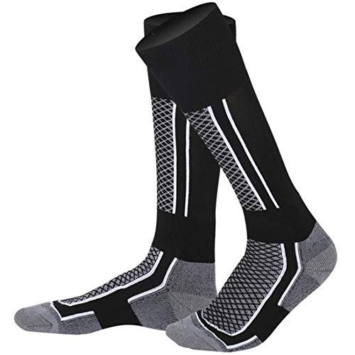 LORYLOLY Skifahren Socken für Männer Frauen Jungen Mädchen, Knee High Thermal Winter Skisocken für Erwachsene Kinder, Dicke Warme Gepolsterte Schneesocken für Skating Ski Snowboard Reiten Schneemobil