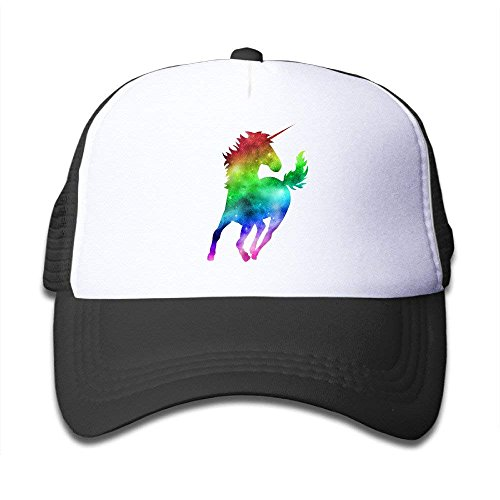 Waldeal Rainbow Galaxy Unicorn Kids Mesh Cap Baseball Hat Youth Trucker Cap Black