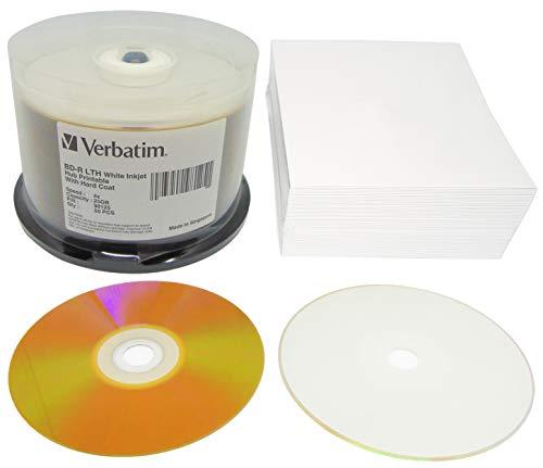 Verbatim Bedruckbare Blu-ray Rohlinge 25GB BD-R LTH Gold Hard Coat Archival Wide Inkjet Printable Weiß 50er Cakebox + GRATIS 50 CD Hüllen aus Karton weiß