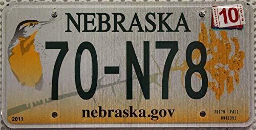 Flaches Nummernschild Nebraska Kennzeichen // KFZ Schild US License Plate // USA Blechschild mit Motiv