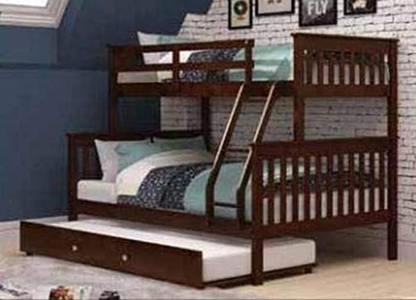 Donco Kids 122 3 TFCP 503 CP Mission Bunk Bed With Trundle Twin Full Twin Dark Cappuccino