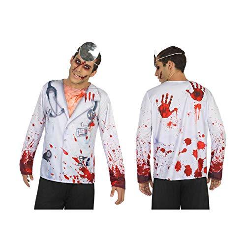 Cisne 2013, S.L. Camiseta Doctor con Sangre de Hombre para Halloween. Disfraz Cosplay Halloween Doctor Sangriento Bloody. Talla M-L