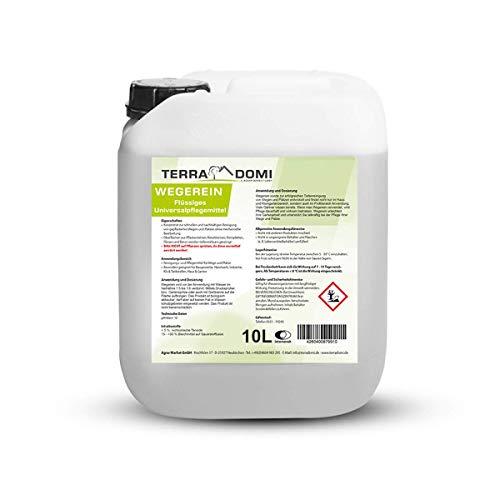 Terra Domi Wegerein flüssig, 10 L, Steinreiniger für bis zu 4000 m², Reinigungsmittel für saubere Wege & Plätze, Wegerein, biologisch abbaubar