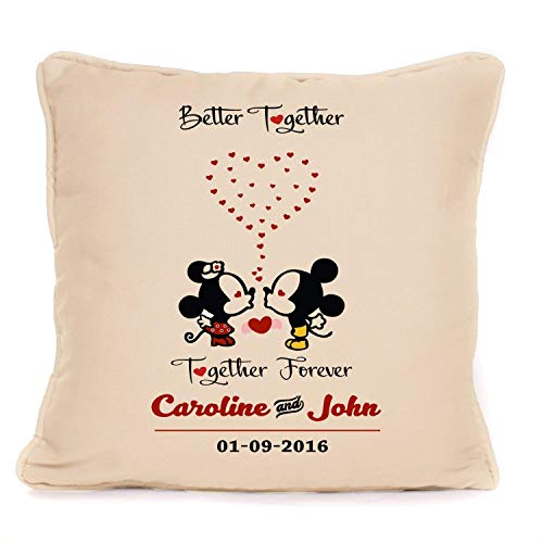 Personalised Mickey And Minnie Mouse Better Together Forever Throw Pillow Cushion Cover| Wedding Anniversary Gift for Couple, Husband, Wife, Her, Him | 18 x18 Inch