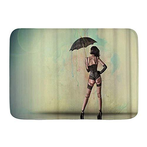 Fußmatten, Sexy Bikini Frauen mit schwarzem Regenschirm, Küchenboden Badteppich Matte Saugfähig Innen Badezimmer Dekor Fußmatte Rutschfest