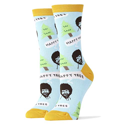 Women's Novelty Crew Socks, Oooh Yeah Exclusive Funny Socks for Bob Ross, Crazy Silly Cool Fashion Socks