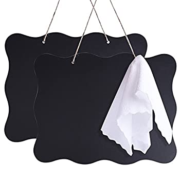 AUSTOR Chalkboards 10x14 Inch Double Sided Erasable Chalkboard Signs Message Board with Hanging String and Cleaning Cloth 2 Pack