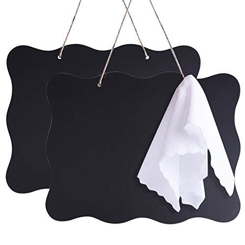AUSTOR 10x14 inch Double Sided Erasable Chalkboard Signs Message Board with Hanging String and Cleaning Cloth for Wedding, Kitchen Pantry,Kids Crafts and Wall Décor, 2 Pack
