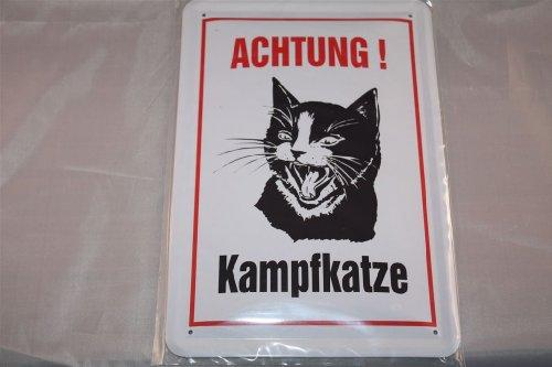 Vorsicht Lucha gato. Cartel de chapa Cartel 20x 30cm karrikatur hochkant Gatos Cat Cats
