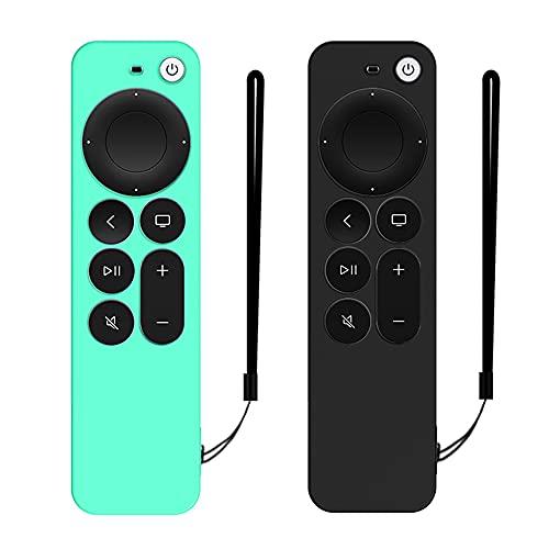 DAZUAN 2 PCS Funda de Silicona para Control Remoto Apple TV 4K 2021, Funda Protectora de Cuerpo Completo a Prueba de Golpes para Control Remoto Siri 6nd Gen con Cuerda Antipérdida (Verde Hielo+Negro)