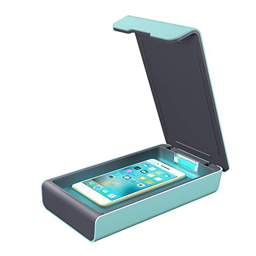 Smart Phone UV Sanitizer Portable UV Light Cell Phone Sterilizer Cleaner Aromatherapy Function Disinfector with USB Charging for iPhone Android Smart Phone Toothbrush Jewelry Watches (Green)