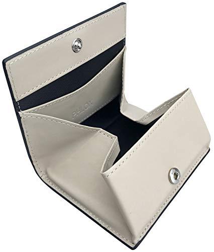[フロックス] 財布 小銭入れ ボタン式 ボックス型 本革 メンズ ブラック