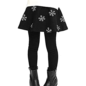 YRINA 女の子 スカート 付 レギンス 裏起毛 10分丈 ガールズ スパッツ キッズ スカッツ (120, ブラック)