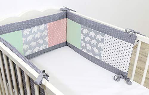 ULLENBOOM ® baby bedomrander l 180 x 30 cm l stootrand voor ledikantjes, hoofdbeschermer ledikant in de maat 120 x 60 cm I olifant mint roze
