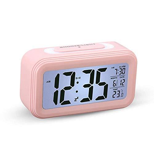 Horloge Numérique Simple, 4 Pouces Rétro-éclairage Grand écran, Capteur de température en Temps Réel, Réveil Intelligent de Voyage Portable, Alarme Progressive Vous Réveiller Doucement