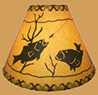 "Rustic 9"" Laced lamp Shades with Scene- Clips onto Light Bulb"