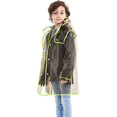 pequeño y compacto YueOutdoor Chubasqueros transparentes para niños, niños y niñas, chubasqueros largos y aireados, ponchos…