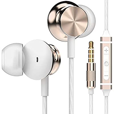 Betron BS10 Earphones, In Ear Headphones Earphones with Microphone and Volume Control, Powerful Bass Driven Sound, 12mm Large Drivers, Ergonomic Design, Gold from Betron