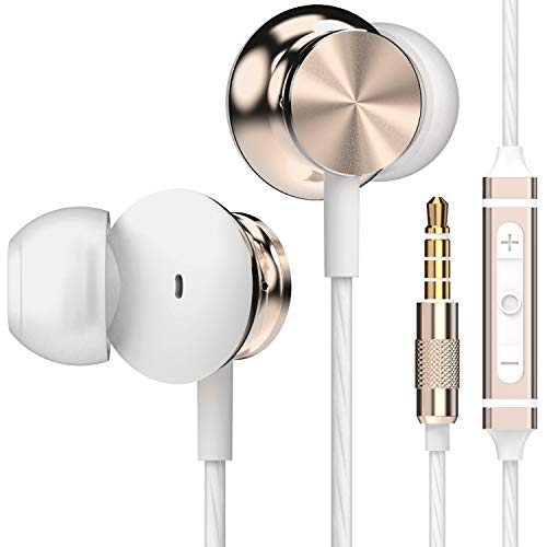 Betron BS10 Earphones Headphones with Microphone and Volume Control, Powerful Bass Driven Sound, 12mm Large Drivers, Ergonomic Design for iPhone, iPad, iPod, Samsung (Gold)