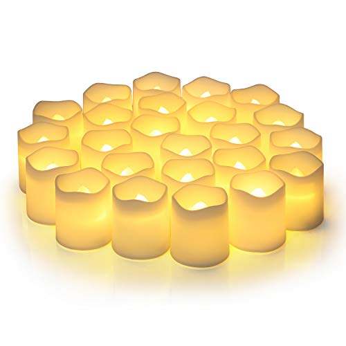 Flameless Votive Candles,Flameless Flickering Electric Fake Candle,Pack of 24,Battery Operated LED Tea Lights in Warm White for Wedding,Table,Festival Celebration,Halloween,Christmas Decorations