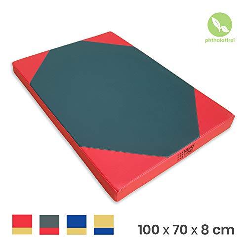 NiroSport Tapis de fitness imperméable 100 x 70 x 8 cm Vert/rouge