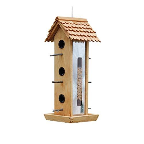 QARYYQ Vogelvoerbox voor buiten, hangend houten vogelhuisje, meerdere openingen, grote capaciteit, vogelvoerbox met staande stang, vogelvoerer