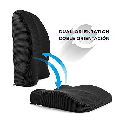 Obliq Memory Foam, Gel Chair Cushion For Back Pain Relief