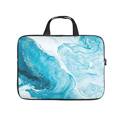 Water Resistant Marble Texture Ink Laptop Sleeve -Modern Style for Men Women Boys Girls White 10 Zoll