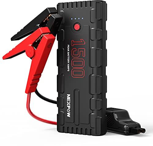 NEXPOW Booster Batterie Voiture, 1500A Peak 21800mAh 12V Portable Jump Starter (Jusqu'à 8L Essence/7.5L Diesel), Démarrage de Voiture avec Pinces de Sûreté Intelligentes, USB Câble QC 3.0 et Lamp LED