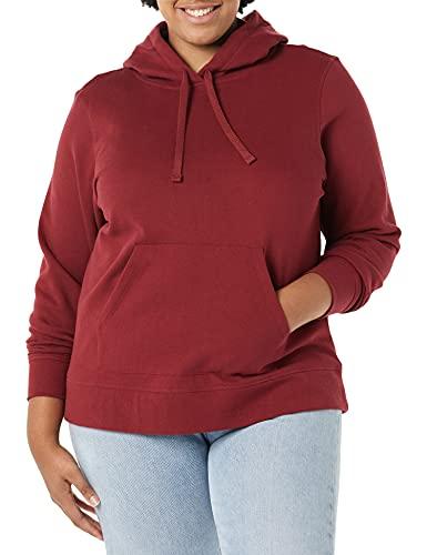 Amazon Essentials – Sudadera de tejido de rizo francés con capucha y forro polar para mujer, Rojo (Burgundy), US M (EU M - L)