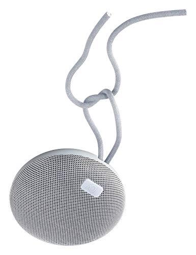 AQL - Altavoz portátil Bluetooth Plump, altamente resistente al agua con Ipx 7, con micrófono para llamadas telefónicas y colgantes y cable, color: blanco