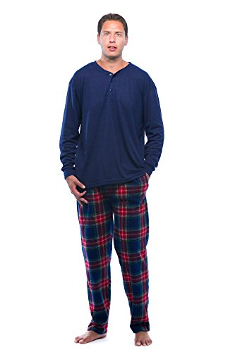 44909-19-XXL #FollowMe Pajama Set for Men with Thermal Henley Top and Polar Fleece Pants / Sleepwear / PJs