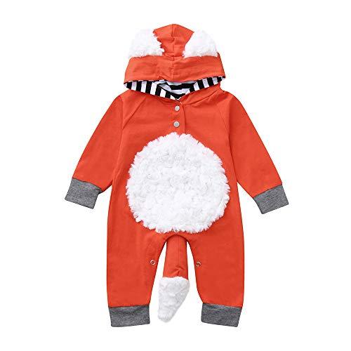 Baby Mädchen Jungen Jumpsuit 3D Cartoon Fox Strampler Hooded Babybody Romper Outfits, Orange, 6-12 Monate