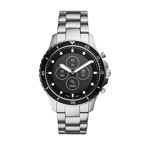 Fossil Men's 44MM FB-01 HR HR Heart Rate Stainless Steel Hybrid HR Smart Watch, Color: FB-01 - Silver (Model: FTW7016)