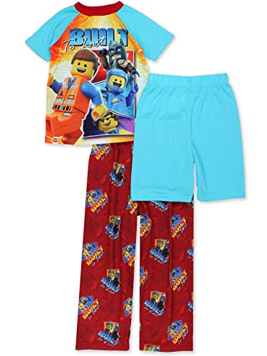 Lego Movie 2 The Second Part Boys 3-piece Pajama Set (8, Blue/Red)