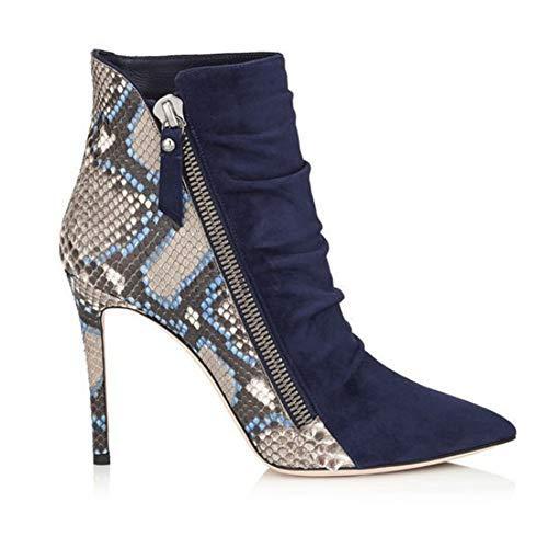 CJCJ-LOVE Botas cortas de mujer con patrón de serpiente de ante cosido, botas de tobillo fruncido de tacón superalto, zapatos de mujer de otoño e invierno, talla grande, azul, 42EU