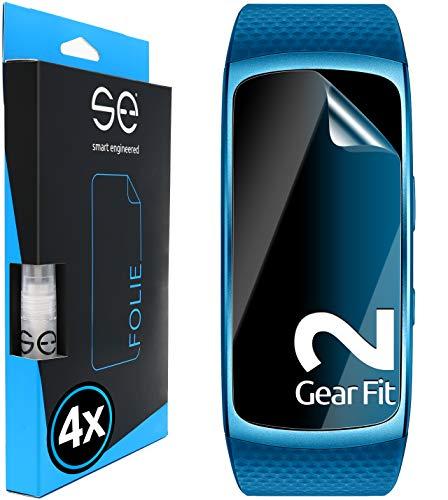 smart engineered [4 Stück] 3D Schutzfolien kompatibel mit Samsung Gear Fit 2, durchsichtige HD Bildschirmschutz-Folie, Schutz vor Dreck & Kratzern, kein Schutzglas