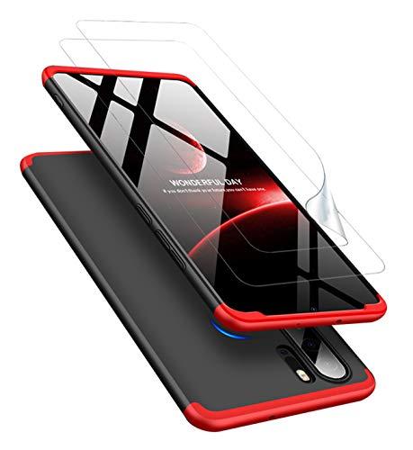 JOYTAG Kompatibel Huawei P30 Pro Hülle 360 Grad Rote Schwarz + Schutzfolie Bildschirmschutzfolie [2 Packungen] Ultra dünn Alles inklusive Schutz 3 in 1 PC Handy Cover case-Rote Schwarz