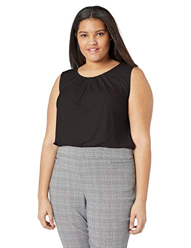 Calvin Klein Women's Plus Size Pleat Neck Cami, Black, 1X